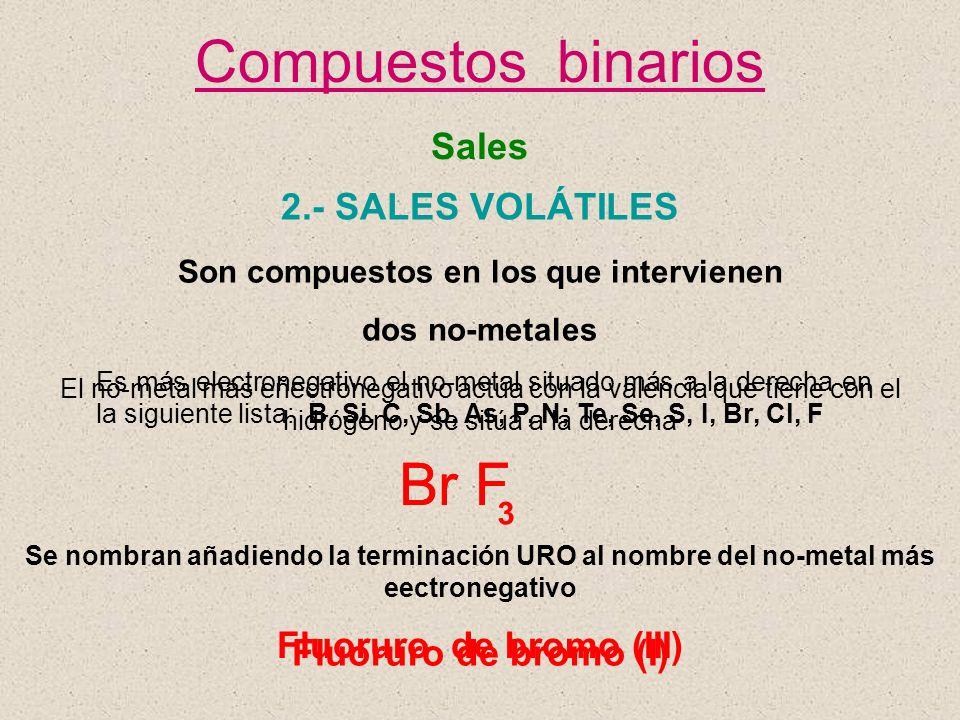 Son compuestos en los que intervienen Fluoruro de bromo (III)