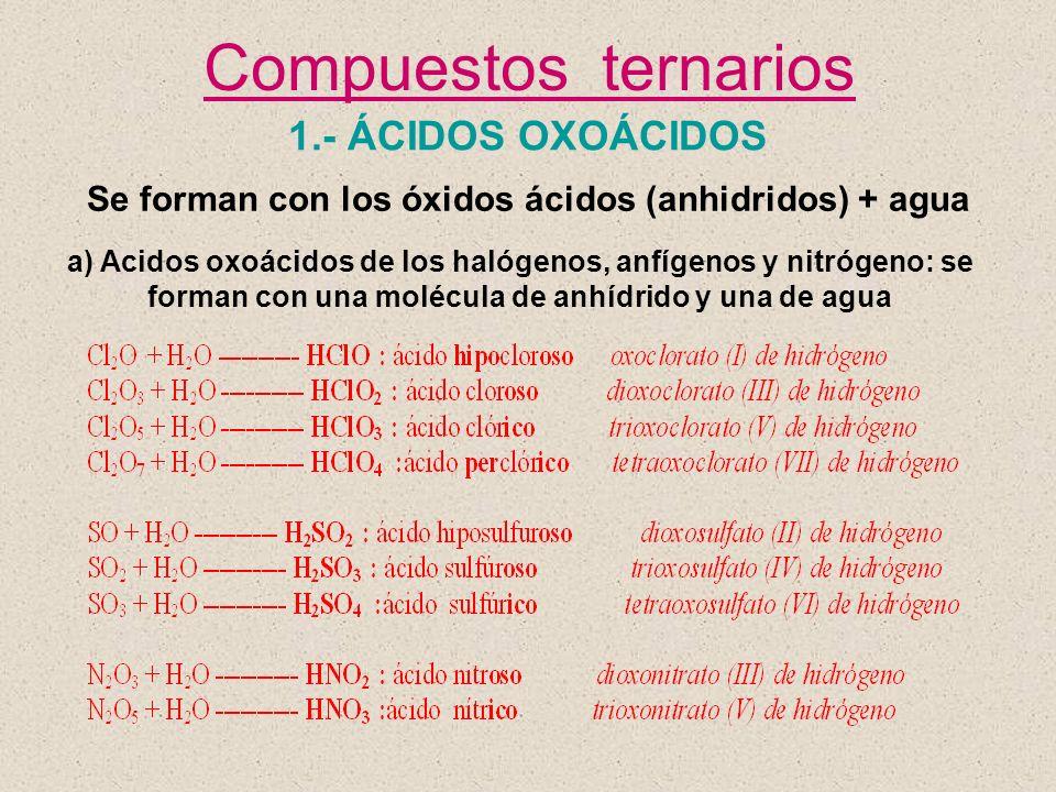 Se forman con los óxidos ácidos (anhidridos) + agua