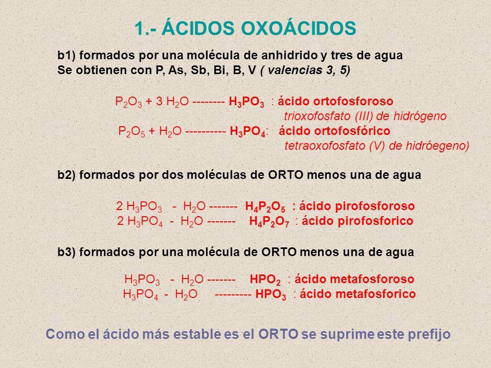 1.- ÁCIDOS OXOÁCIDOS b1) formados por una molécula de anhidrido y tres de agua. Se obtienen con P, As, Sb, Bi, B, V ( valencias 3, 5)