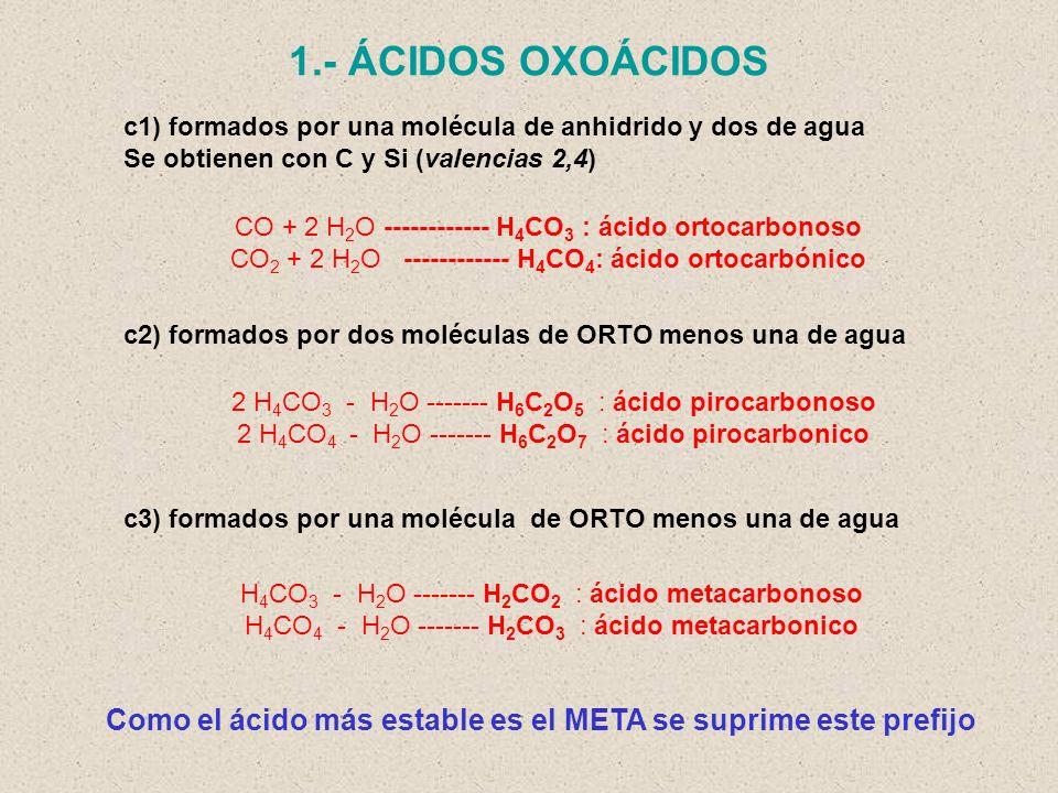 1.- ÁCIDOS OXOÁCIDOS c1) formados por una molécula de anhidrido y dos de agua. Se obtienen con C y Si (valencias 2,4)
