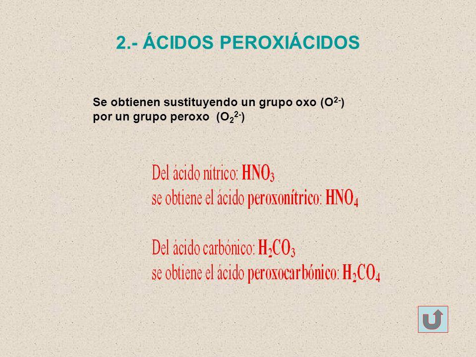 2.- ÁCIDOS PEROXIÁCIDOS Se obtienen sustituyendo un grupo oxo (O2-)