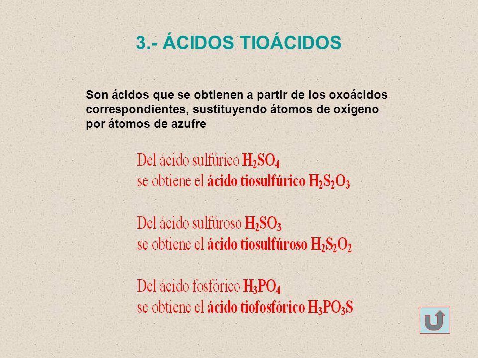 3.- ÁCIDOS TIOÁCIDOS Son ácidos que se obtienen a partir de los oxoácidos. correspondientes, sustituyendo átomos de oxígeno.