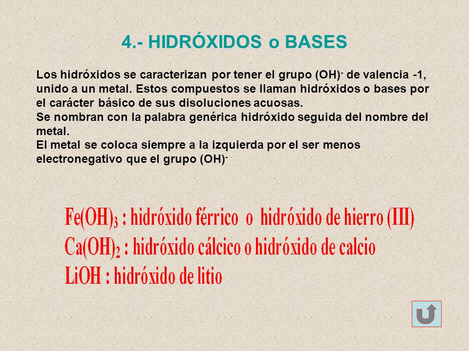 4.- HIDRÓXIDOS o BASES