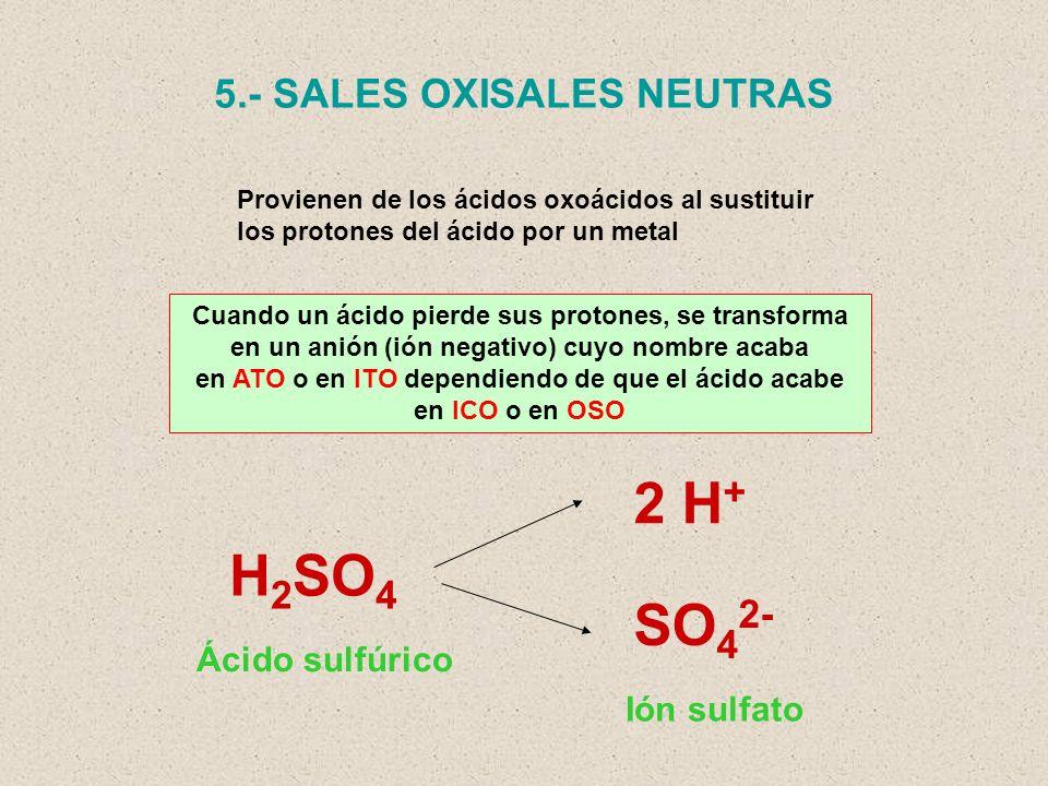 2 H+ H2SO4 SO42- 5.- SALES OXISALES NEUTRAS Ácido sulfúrico