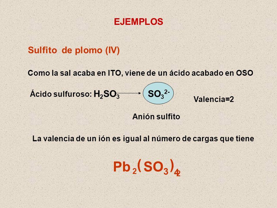( ) Pb SO3 EJEMPLOS Sulfito de plomo (IV) SO32- 4