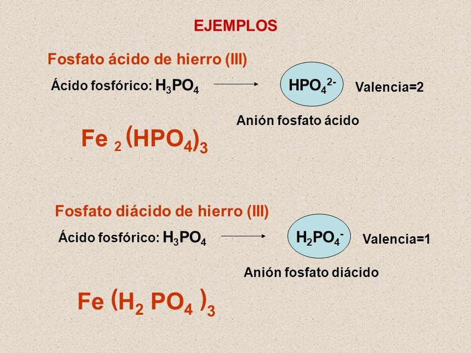 ( Fe HPO4 ) ( ) Fe H2 PO4 EJEMPLOS Fosfato ácido de hierro (III)