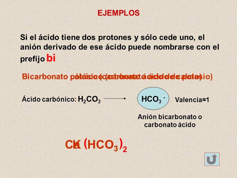Anión bicarbonato o carbonato ácido
