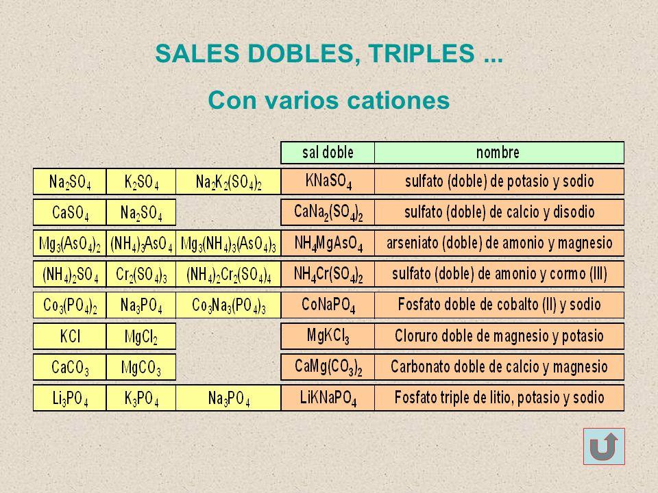 SALES DOBLES, TRIPLES ... Con varios cationes