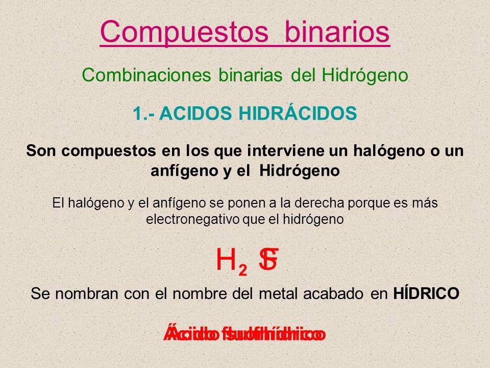 Compuestos binarios H H S F Combinaciones binarias del Hidrógeno