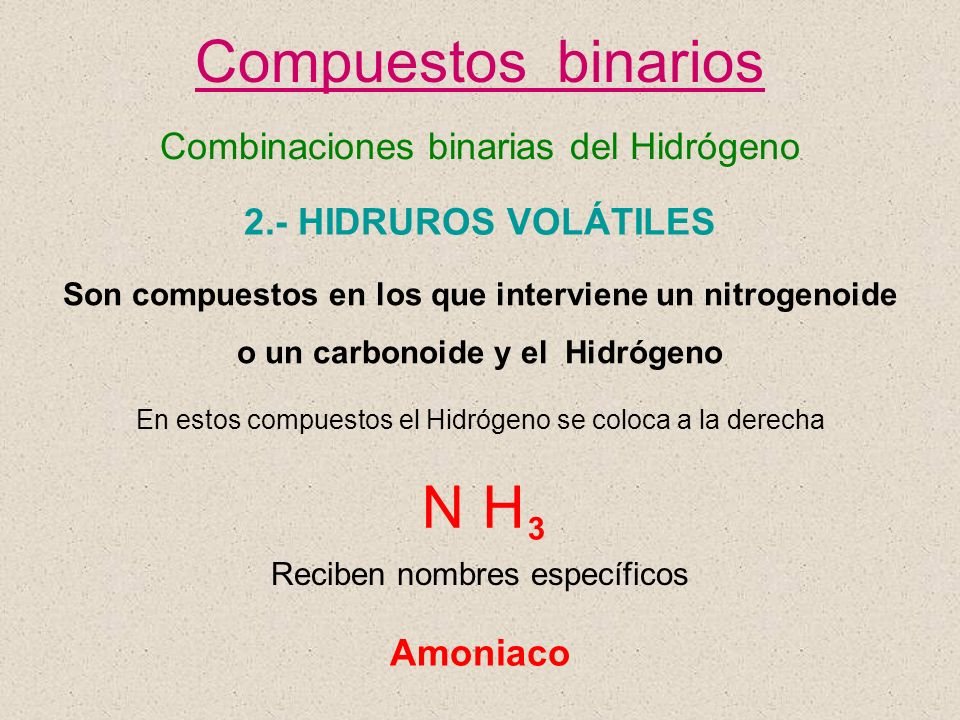 Compuestos binarios N H Combinaciones binarias del Hidrógeno