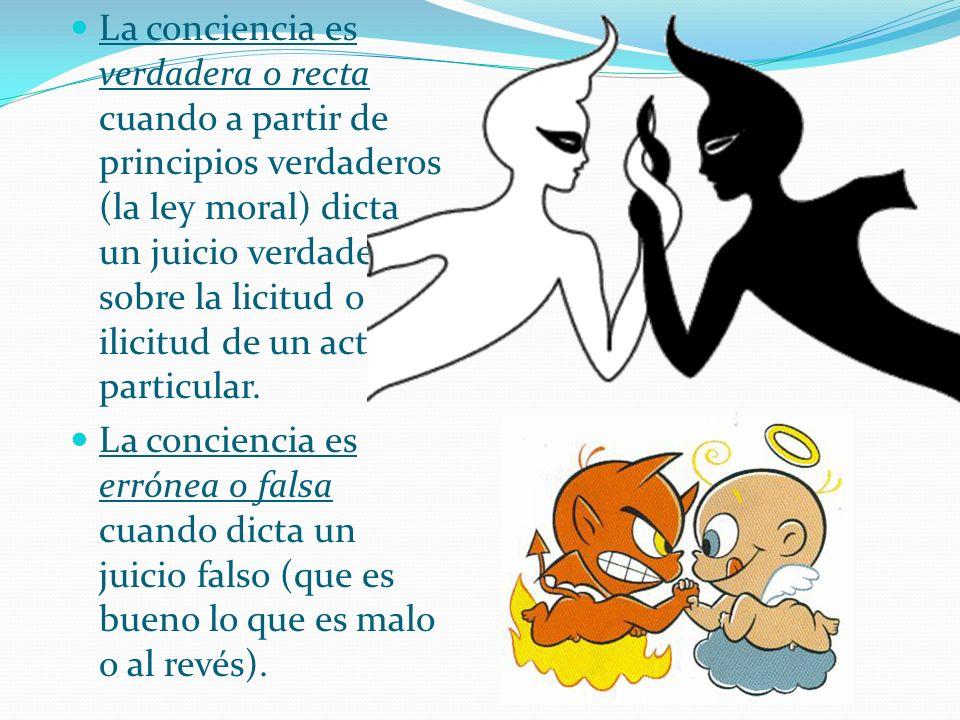 La conciencia es verdadera o recta cuando a partir de principios verdaderos (la ley moral) dicta un juicio verdadero sobre la licitud o ilicitud de un acto particular.