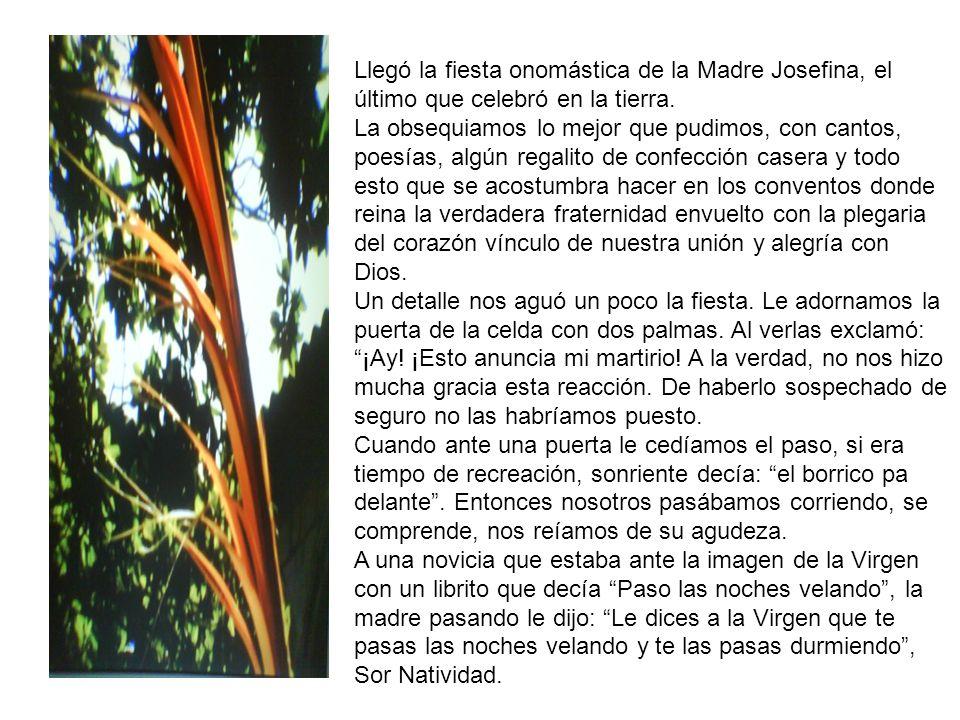 Llegó la fiesta onomástica de la Madre Josefina, el último que celebró en la tierra.