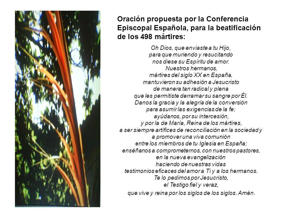 Oración propuesta por la Conferencia Episcopal Española, para la beatificación de los 498 mártires: