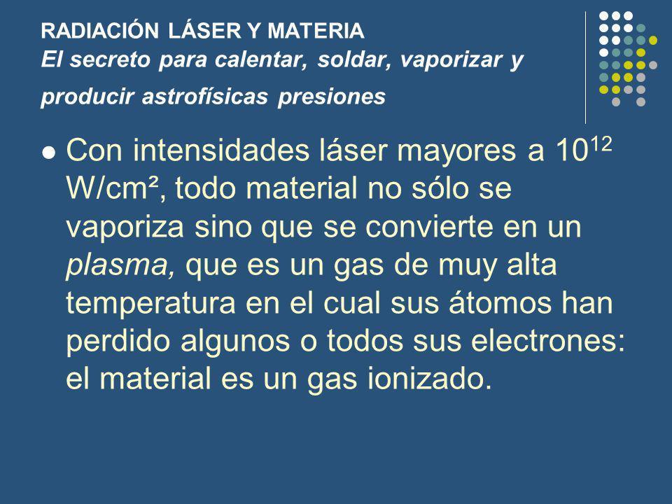 RADIACIÓN LÁSER Y MATERIA El secreto para calentar, soldar, vaporizar y producir astrofísicas presiones