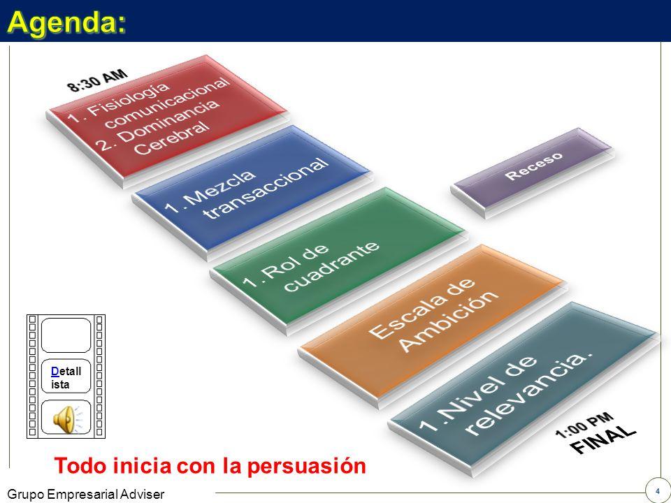 Nivel de relevancia. Agenda: Escala de Ambición Mezcla transaccional