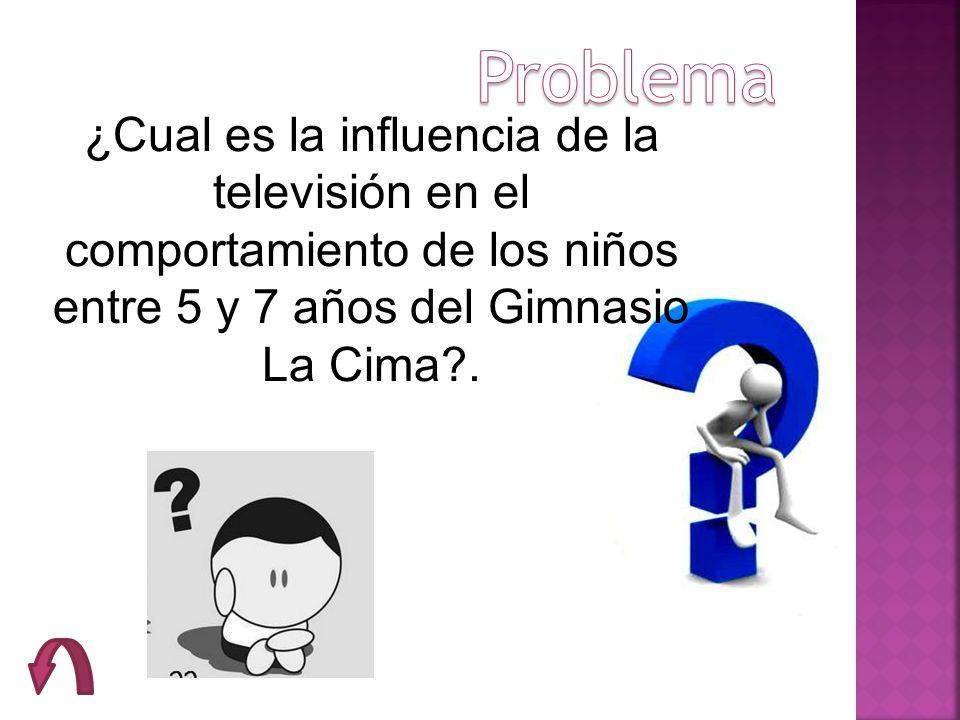 Problema ¿Cual es la influencia de la televisión en el comportamiento de los niños entre 5 y 7 años del Gimnasio La Cima .