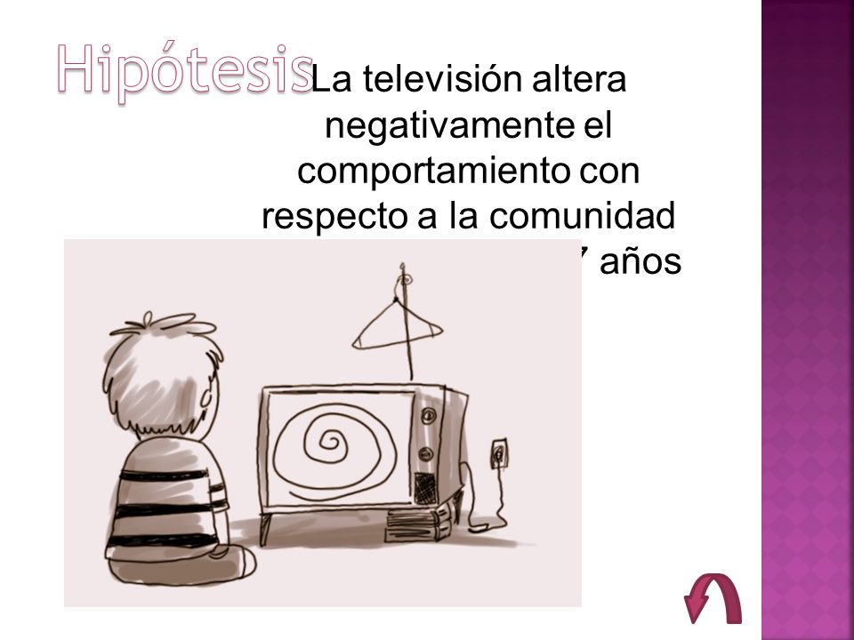 Hipótesis La televisión altera negativamente el comportamiento con respecto a la comunidad de niños entre 5 a 7 años.