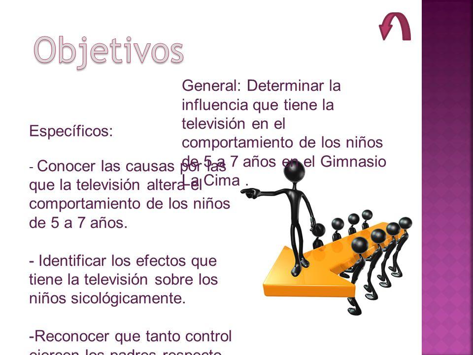 Objetivos General: Determinar la influencia que tiene la televisión en el comportamiento de los niños de 5 a 7 años en el Gimnasio La Cima .