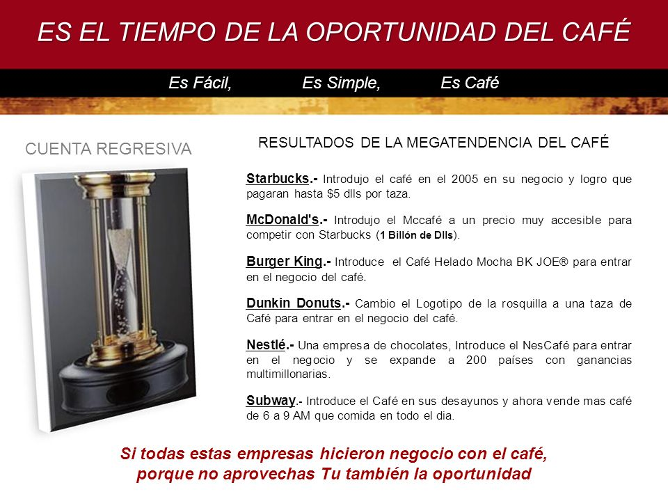 ES EL TIEMPO DE LA OPORTUNIDAD DEL CAFÉ