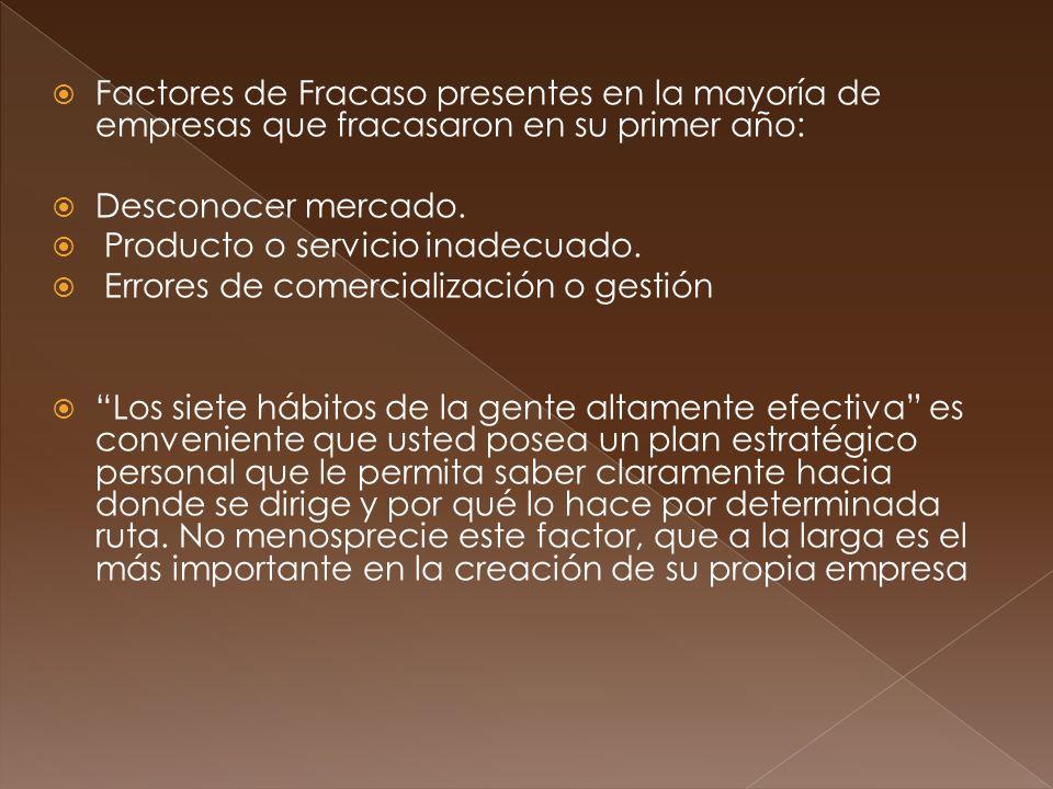 Factores de Fracaso presentes en la mayoría de empresas que fracasaron en su primer año: