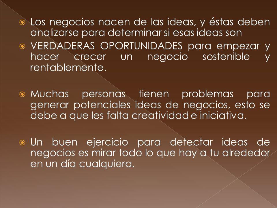 Los negocios nacen de las ideas, y éstas deben analizarse para determinar si esas ideas son