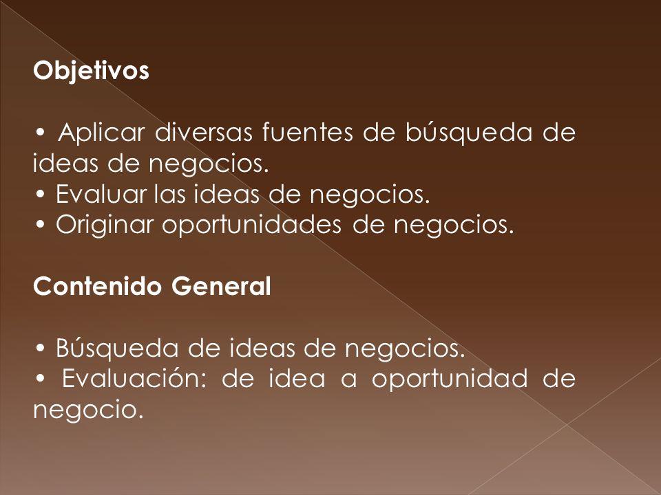 Objetivos • Aplicar diversas fuentes de búsqueda de ideas de negocios. • Evaluar las ideas de negocios.