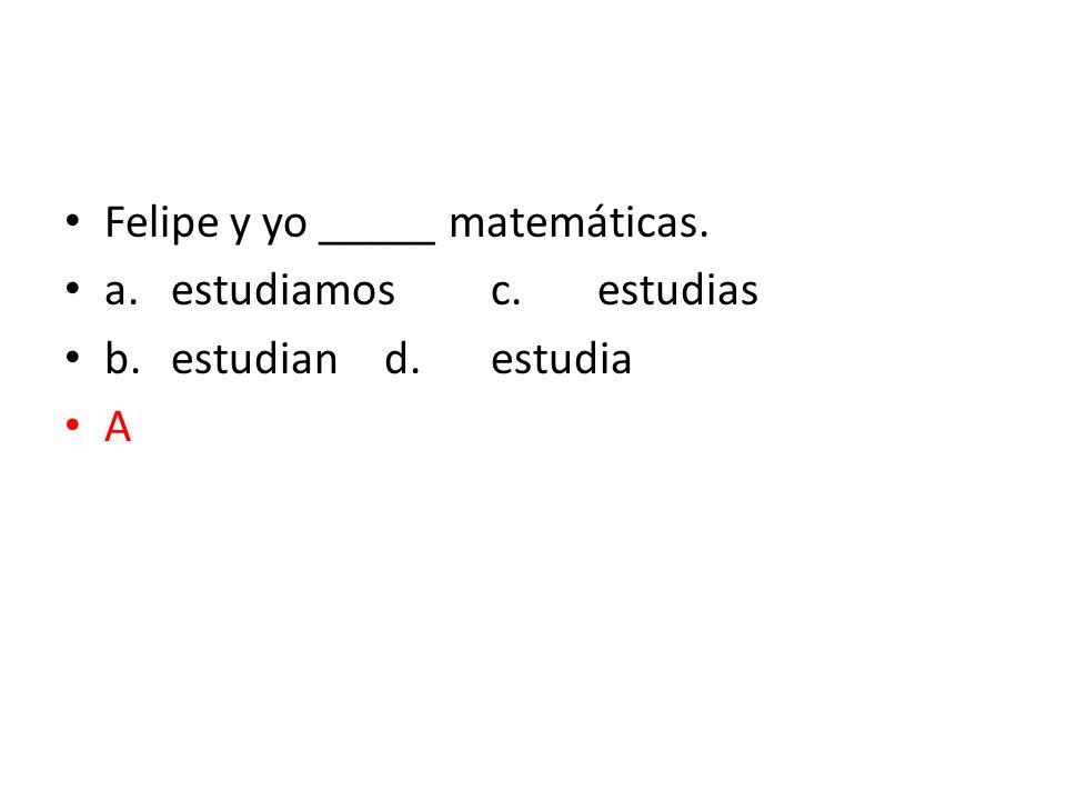 Felipe y yo _____ matemáticas.
