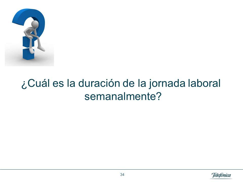 La duración de la jornada laboral es en invierno de 42:30 horas semanales y en verano de 37:30 horas semanales.
