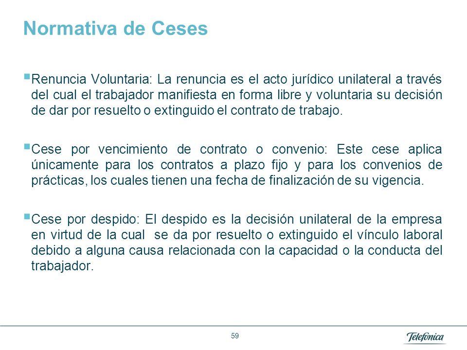 Normativa de Ceses Para todos los casos: