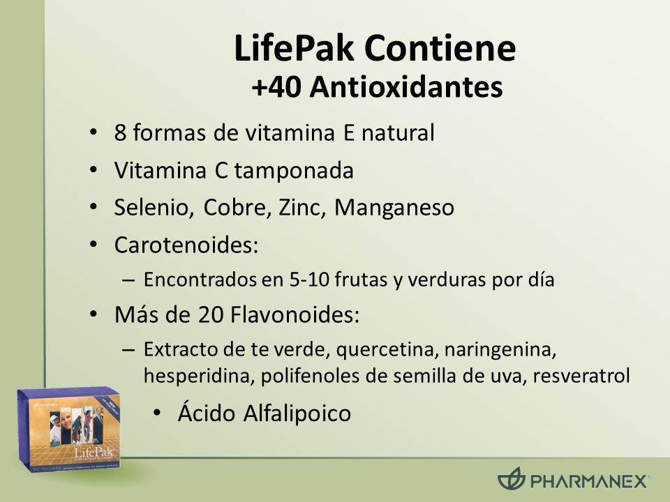 LifePak Contiene +40 Antioxidantes 8 formas de vitamina E natural
