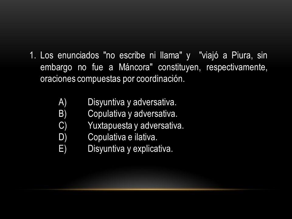 Los enunciados no escribe ni llama y viajó a Piura, sin embargo no fue a Máncora constituyen, respectivamente, oraciones compuestas por coordinación.