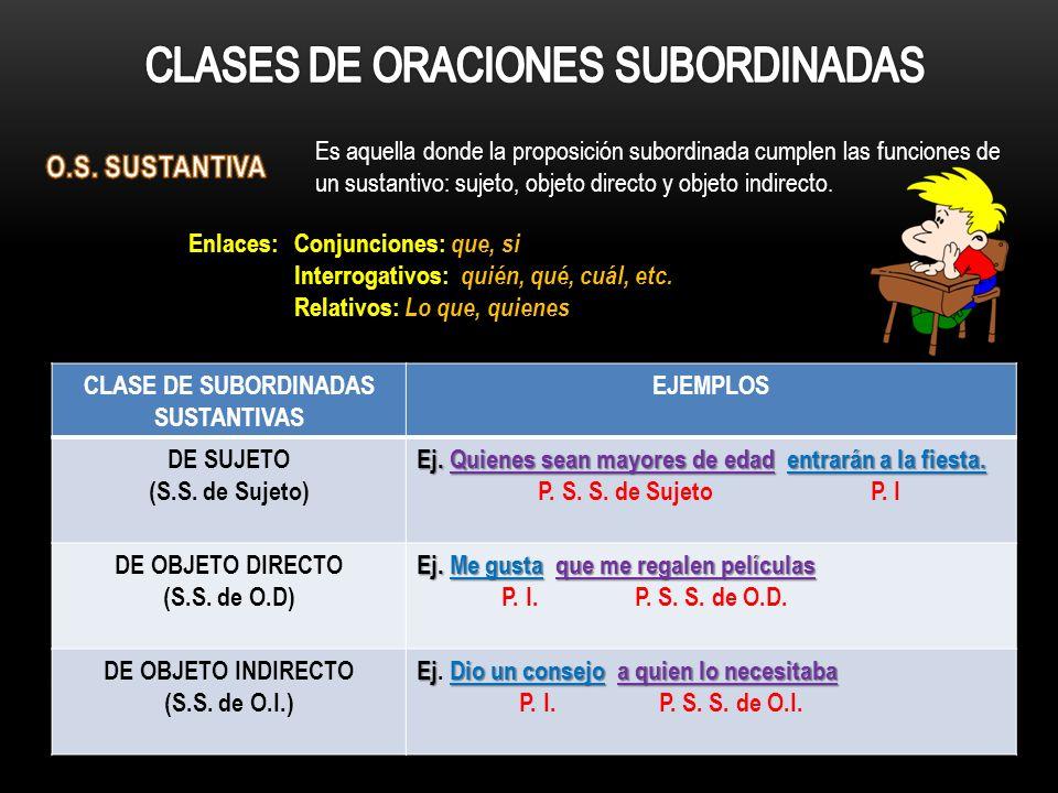 CLASE DE SUBORDINADAS SUSTANTIVAS