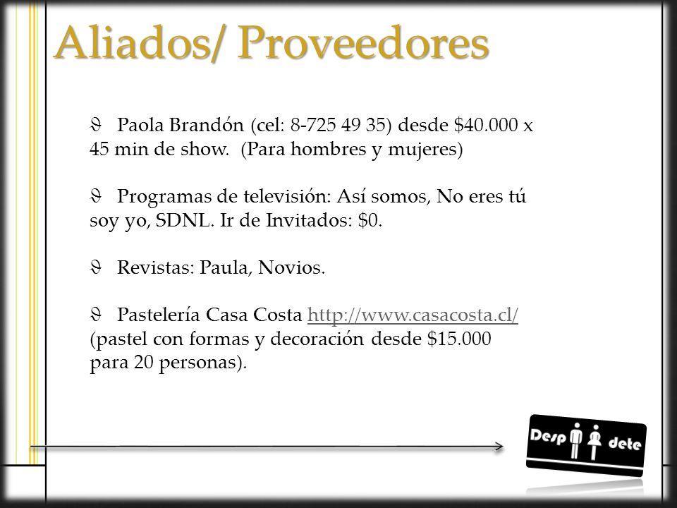Aliados/ Proveedores Paola Brandón (cel: 8-725 49 35) desde $40.000 x 45 min de show. (Para hombres y mujeres)