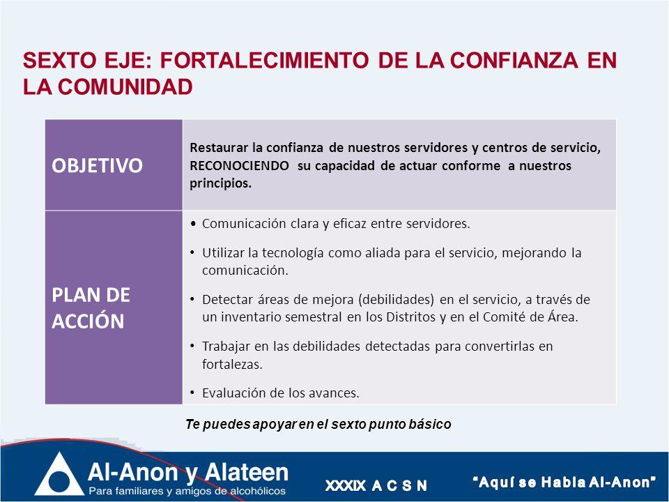 SEXTO EJE: FORTALECIMIENTO DE LA CONFIANZA EN LA COMUNIDAD OBJETIVO
