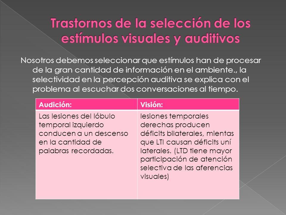Trastornos de la selección de los estímulos visuales y auditivos