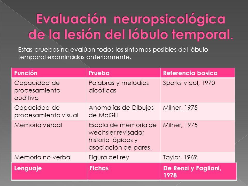 Evaluación neuropsicológica de la lesión del lóbulo temporal.
