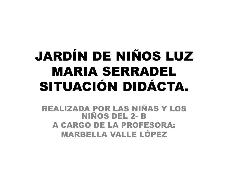 JARDÍN DE NIÑOS LUZ MARIA SERRADEL SITUACIÓN DIDÁCTA.