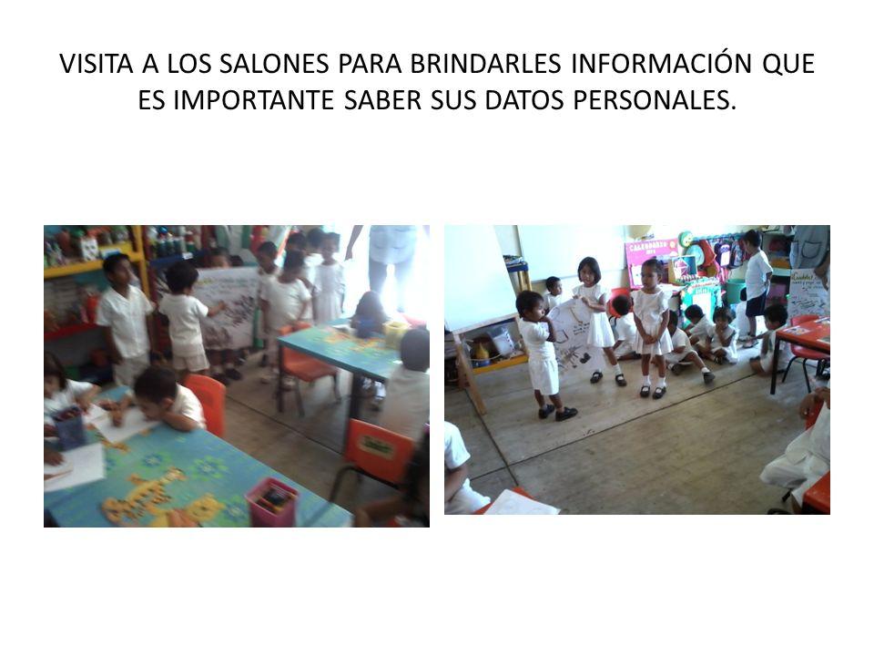 VISITA A LOS SALONES PARA BRINDARLES INFORMACIÓN QUE ES IMPORTANTE SABER SUS DATOS PERSONALES.
