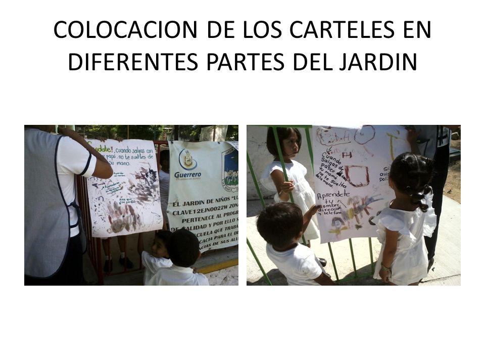 COLOCACION DE LOS CARTELES EN DIFERENTES PARTES DEL JARDIN