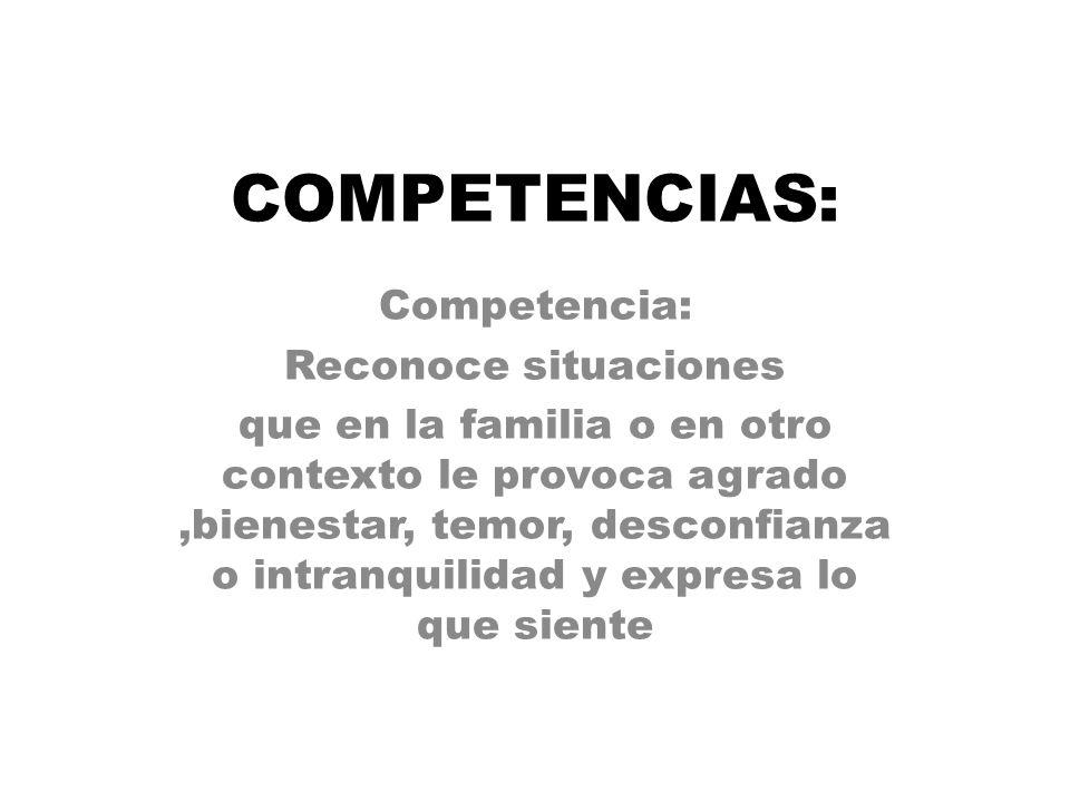 COMPETENCIAS: Competencia: Reconoce situaciones