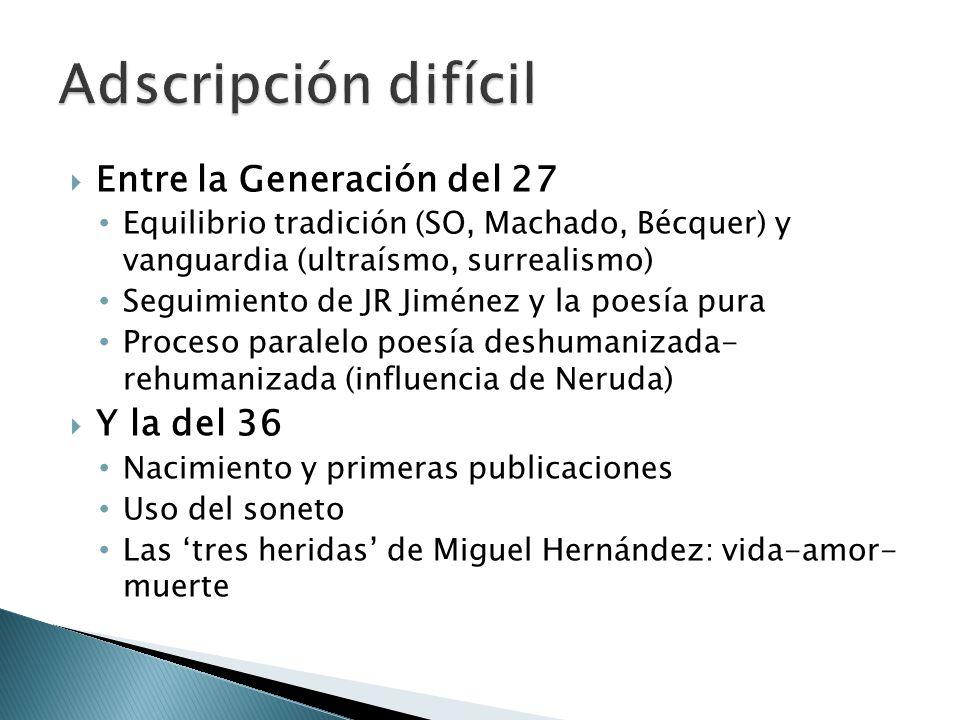 Adscripción difícil Entre la Generación del 27 Y la del 36