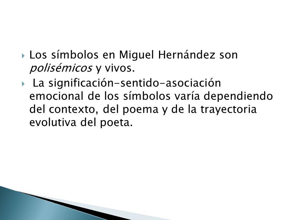 Los símbolos en Miguel Hernández son polisémicos y vivos.