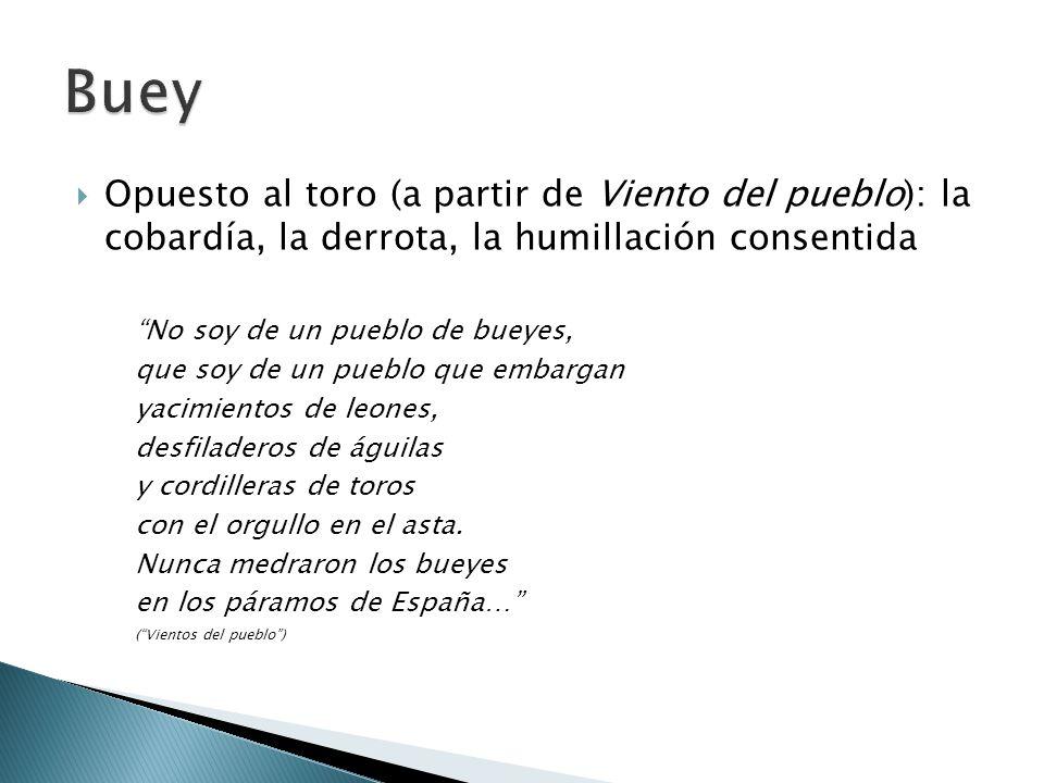 Buey Opuesto al toro (a partir de Viento del pueblo): la cobardía, la derrota, la humillación consentida.