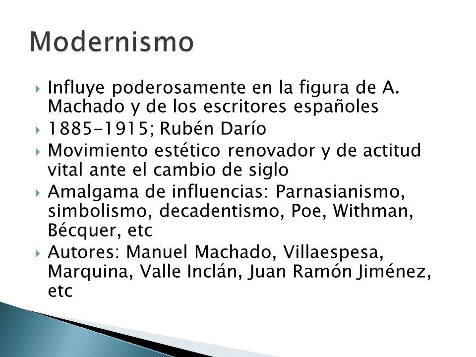 Modernismo Influye poderosamente en la figura de A. Machado y de los escritores españoles. 1885-1915; Rubén Darío.