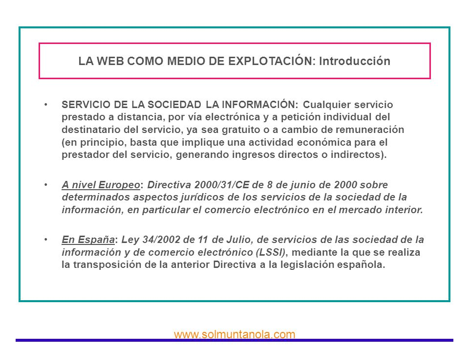 LA WEB COMO MEDIO DE EXPLOTACIÓN: Introducción
