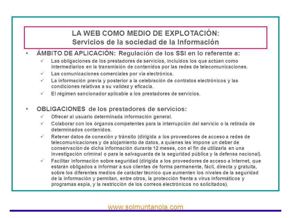 LA WEB COMO MEDIO DE EXPLOTACIÓN: Servicios de la sociedad de la Información