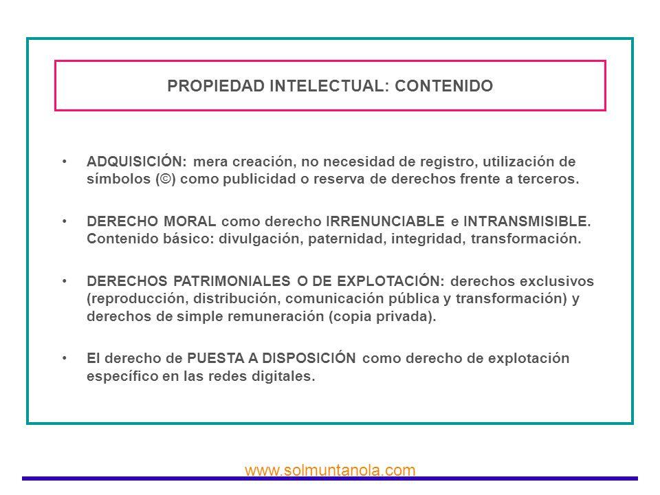 PROPIEDAD INTELECTUAL: CONTENIDO