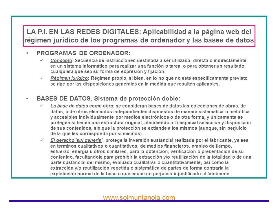 LA P.I. EN LAS REDES DIGITALES: Aplicabilidad a la página web del régimen jurídico de los programas de ordenador y las bases de datos
