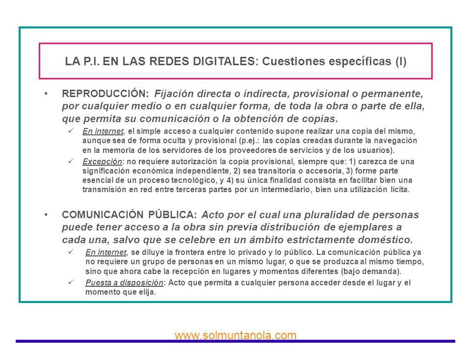 LA P.I. EN LAS REDES DIGITALES: Cuestiones específicas (I)