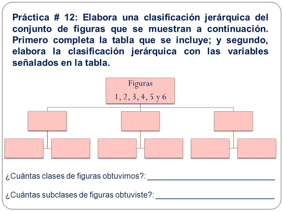 Práctica # 12: Elabora una clasificación jerárquica del conjunto de figuras que se muestran a continuación. Primero completa la tabla que se incluye; y segundo, elabora la clasificación jerárquica con las variables señalados en la tabla.